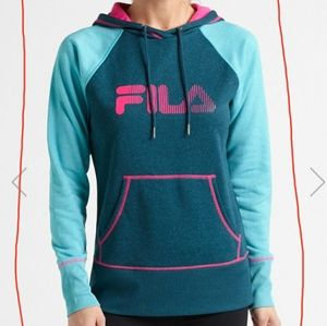 Turquoise and pink FILA logo pullover hoodie